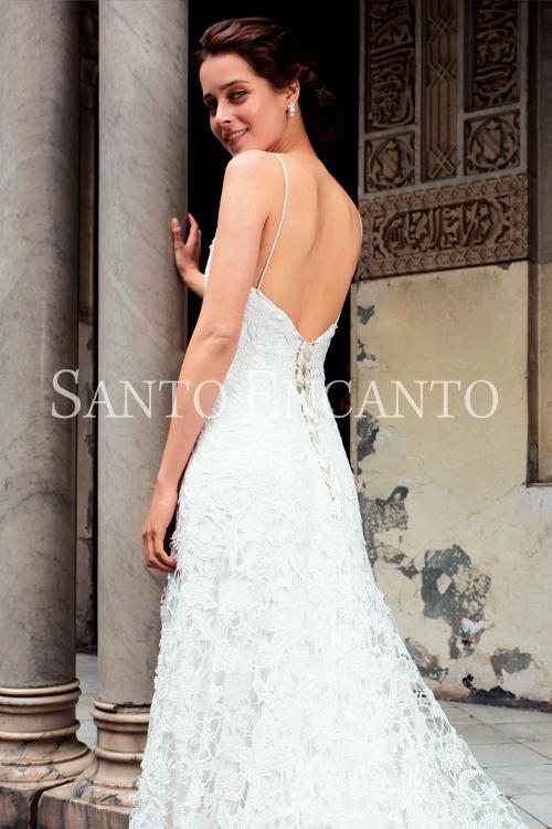 vestido de novia de macrame y corset