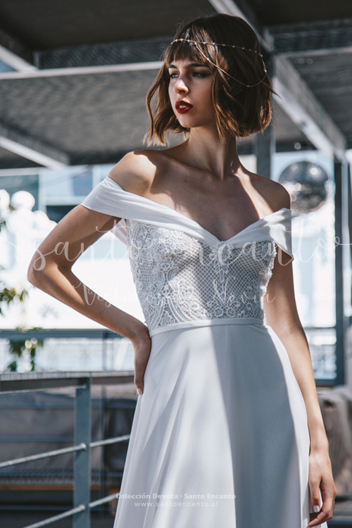 Vestido de novia off the shoulder
