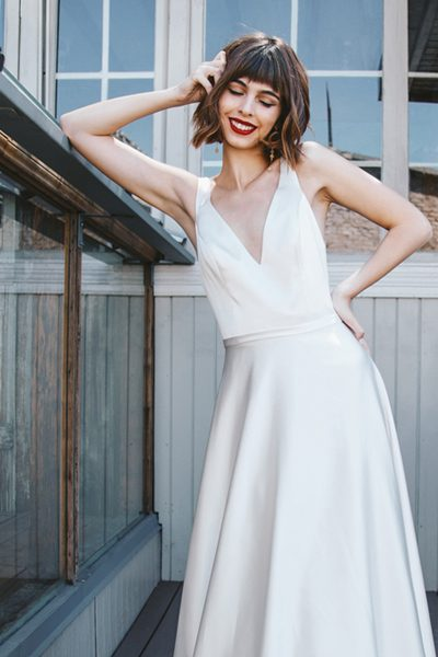 Vestido de novia de seda natural
